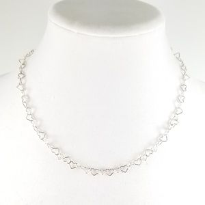 """Sterling Silver Delicate Heart Link 18"""" Necklace"""